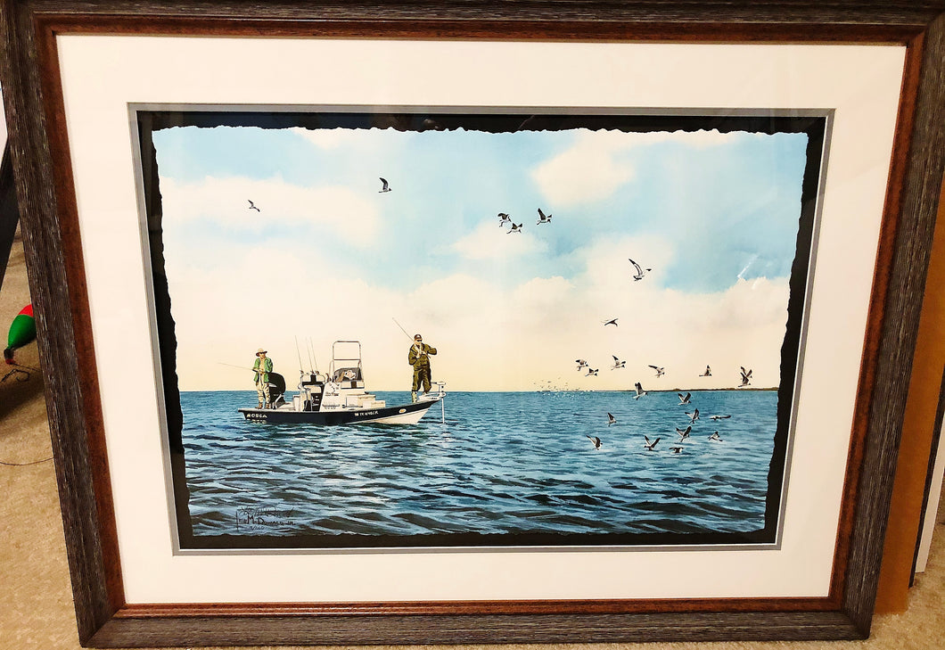 Les McDonald - Workin' The Birds GiClee - Framed GiClee - Frame Dimensions 23.5H x 30.5L - Mint Condition - Brand New Custom Sporting Frame