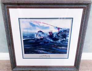 Sam Caldwell - Adios to A Speckled Trout w Remarque 1982  - Framed Lithograph - Print Size 20 x 18 - Framed Size - 27 x 24 - Speck Fishing