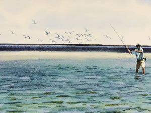 Al Barnes - Incoming - Framed GiClee - GiClee Size 20 x 30 - Frame Size 30 x 40 - Coastal Fishing Scene - With Deckled Edges - Mint Condition w Brand New Custom Sporting Frame - Spring Special $150 Off !