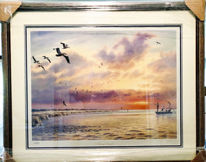 Herb Booth - Fishing Friends - Framed Lithograph - Coastal Wade Fishing Scene - Image Size 25 x 32 - Frame Size 33 x 36.5 - Printed 1991