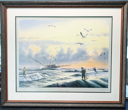 Herb Booth - Painters Surf - Framed Lithograph - Print 26 x 33 - Frame 32 x 38 - Features Herb Booth, Al Barnes and Jack Cowan Fishing