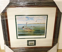 Load image into Gallery viewer, John Dearman - 2007 CCA Stamp Print and Double Stamps - RedFish - Framed Stamp Print -Image 12.5 x 14 - Frame 17 x 18.5 - Redfishing