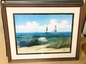 John Dearman - Ambushed - Framed GiClee - GiClee Size 15 x 22 - Frame Size 25.5 x 32 - Speckled Trout