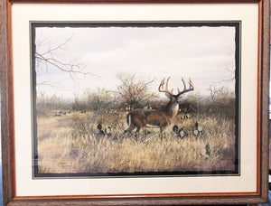 John Dearman - Pappa Grande - Framed GiClee - GiClee Size 22 x 30 - Frame Size 30 x 40 - Trophy Whitetail Scene with Turkeys