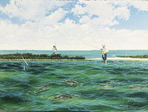 John Dearman - Pringle - Framed GiClee - GiClee Size 22 x 30 - Frame Size 30 x 40 - Wade Fishing Scene