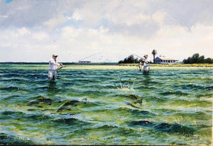 John Dearman - Trout 2005 - Framed GiClee - Size 15 x 22 -  Wade Fishing for Speckled Trout