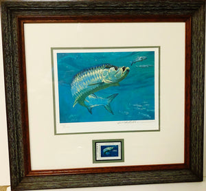 Mike Stidham - 1992 Texas Saltwater Stamp Print and Stamp - Framed Stamp Print - Tarpon Scene