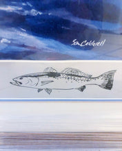Load image into Gallery viewer, Sam Caldwell - Adios to A Speckled Trout w Remarque 1982  - Framed Lithograph - Print Size 20 x 18 - Framed Size - 27 x 24 - Speck Fishing