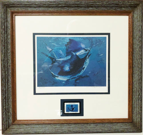Stanley Meltzoff - 1988 CCA Coastal Conservation Association Stamp Print and Stamp - Framed Stamp Print - Sailfish