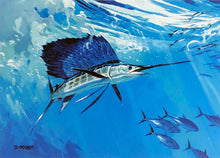 Load image into Gallery viewer, Al Barnes - 1996 Texas Saltwater Stamp Print and Stamp - Framed Stamp Print - Print Size 12.5 x 14 - Framed Size 18 x 18.5 - Bluewater Sailfish