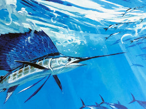 Al Barnes - 1996 Texas Saltwater Stamp Print and Stamp - Framed Stamp Print - Print Size 12.5 x 14 - Framed Size 18 x 18.5 - Bluewater Sailfish