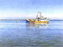 Load image into Gallery viewer, Al Barnes - Off Mud Island - Framed GiClee - GiClee Size 25 x 31 - Frame Size 35 x 42 - Coastal Fishing Scene