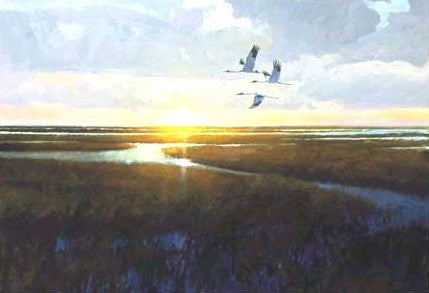 Al Barnes - San Carlos Sunrise Number 20 of 200 - Framed GiClee - GiClee Size 20.5 x 28.5 - Frame Size 30 x 38 - Flying Texas Whoopers