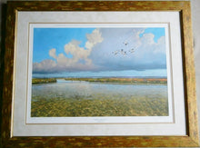 Load image into Gallery viewer, Al Barnes - The Legacy - Framed Lithograph - Frame Size 25.5 x 31.5 - Coastal Duck Hunting Scene - Texas Ducks Unlimited Year 2008 - Rare