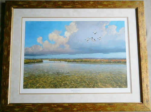 Al Barnes - The Legacy - Framed Lithograph - Frame Size 25.5 x 31.5 - Coastal Duck Hunting Scene - Texas Ducks Unlimited Year 2008 - Rare