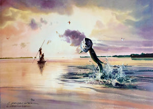 Chance Yarbrough - Broken Calm - Framed GiClee - GiClee Size 15 x 22 - Fighting Tarpon