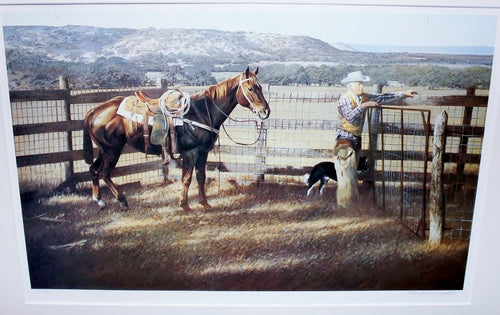 Charles Beckendorf - Hill Country Rancher - Un-Framed Lithograph - Size 12 x 19