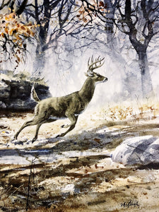 Clay McGaughy - One Shot - Framed Lithograph - Print Size 26 x 33.5 - Framed Size 35 x 43 - Mint Condition - Whitetail Deer Hunt