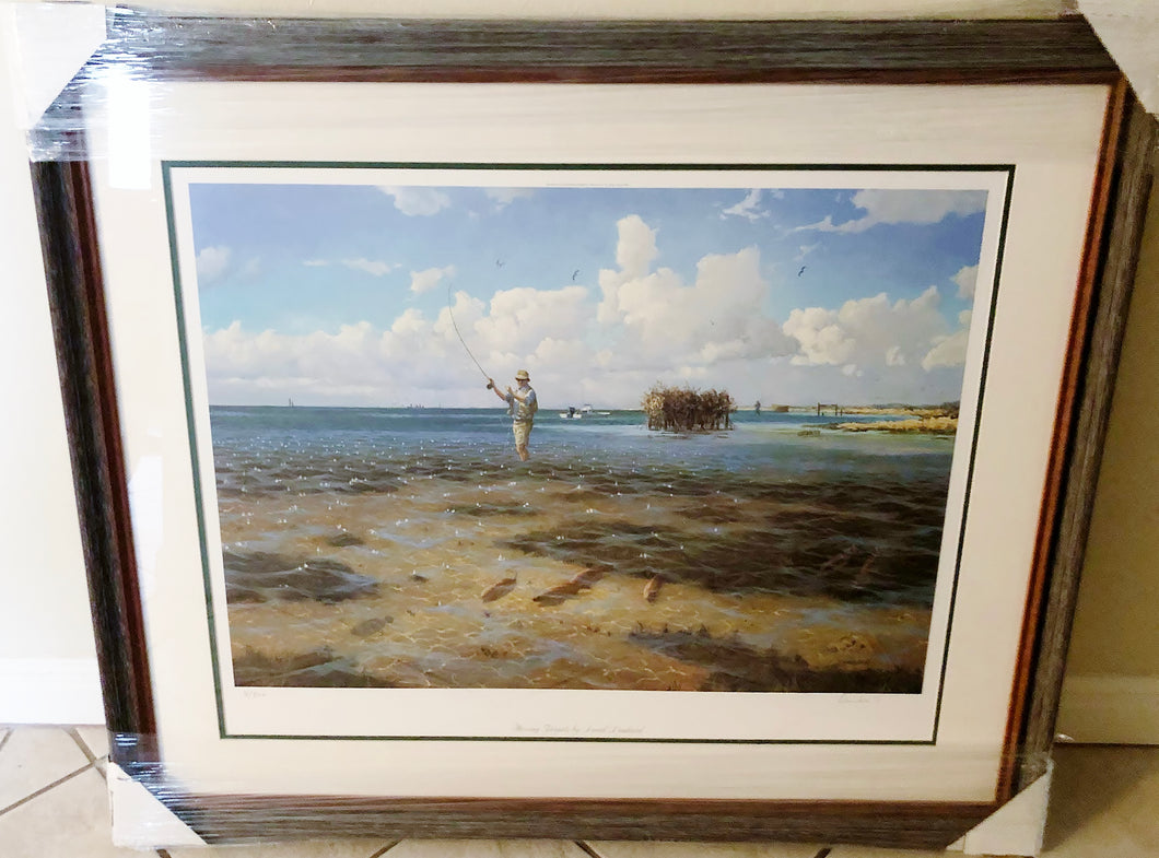 David Drinkard - Moving Targets - Framed Lithograph - Print Size 25 x 31 - Frame Size 34 x 39 - Red Fishing