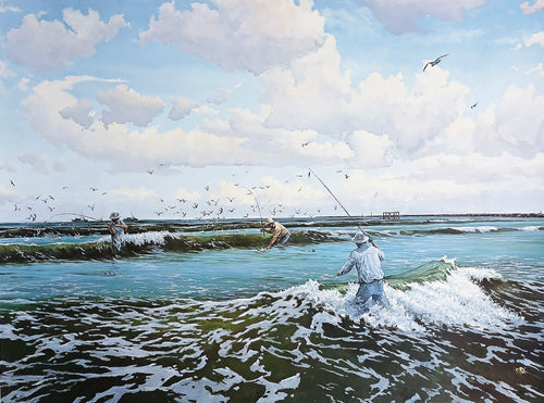 David Drinkard - The Pocket - Framed Lithograph - Print Size 25 x 32 - Frame Size 34 x 40 - Mint Condition - Wade Fishing
