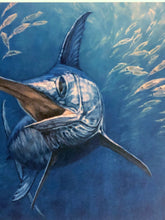 Load image into Gallery viewer, Don Ray - 2015 Texas Saltwater Stamp Print and Stamp - Framed Stamp Print - Print Size 12.5 x 14 - Framed Size 17 x 18.5 - Swordfish