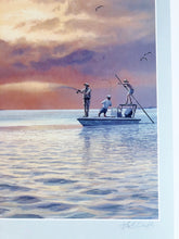 Load image into Gallery viewer, Herb Booth - Fishing Friends - Framed Lithograph - Coastal Wade Fishing Scene - Image Size 25 x 32 - Frame Size 33 x 36.5 - Printed 1991