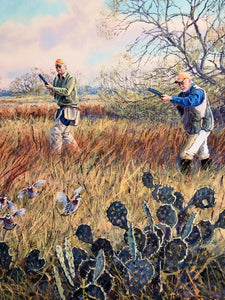 Herb Booth - On The Rise - Framed GiClee -GiClee Size 20 x 30 - Frame Size 30 x 40 - Quail Hunting Scene