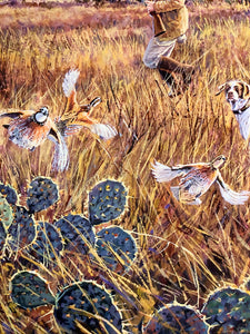 Herb Booth - Out The Side Door - Framed GiClee - GiClee Size 20 x 30 - Frame Size 30 x 40 - Quail Hunting Scene