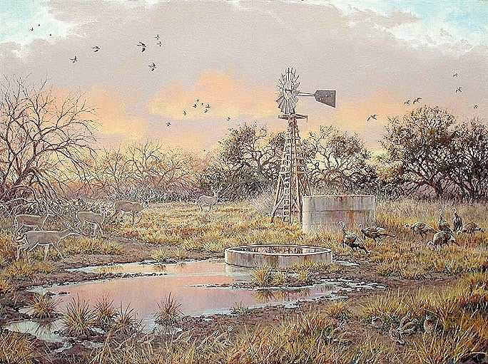Herb Booth - Texas Oasis - Framed Lithograph - South Texas Hunting Scene - Print Size 25 x 32 - Frame Size 32 x 40