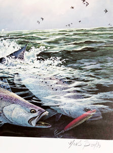Herb Booth - 1984 GCCA Stamp Print and Stamp - Framed Stamp Print - Speckled Trout Fishing - Print Size 12.5 x 14 - Frame Size 17 x 18.5 - Mint Condition - Brand New Custom Sporting Frame