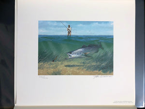 John Dearman - 1995 Texas Saltwater Stamp Print and Stamp - Framed Stamp Print - Speckled Trout - Print Size 12.5 x 14 - Frame Size 17 x 18.5
