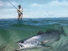 Load image into Gallery viewer, John Dearman - 1995 Texas Saltwater Stamp Print and Stamp - Framed Stamp Print - Speckled Trout - Print Size 12.5 x 14 - Frame Size 17 x 18.5