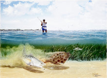 Load image into Gallery viewer, John Dearman - Competition - Framed GiClee - Image Size 22 x 30 - Frame Size 32 x 40 - Speckled Trout & Flounder Scene