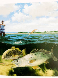 John Dearman - 2005 Coastal Conservation Association CCA Stamp Print and Double Stamps - Framed Stamp Print - Redfish & Speckled Trout