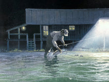 Load image into Gallery viewer, John Dearman - Night Fishing - Framed GiClee - GiClee Size 22 x 30 - Frame Size 31 x 40 - Speckled Trout Night Fishing
