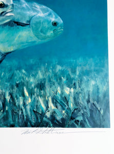Mike Stidham - Permit on The Flats - Framed Lithograph - Artist Proof - Print Size 23 x 31 - Frame Size 32 x 40 - Permit Fishing
