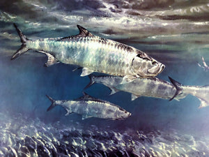 Mike Stidham - Tarpon on The Flats - Framed Lithograph - Artist Proof - Print Size 23 x 31 - Frame Size 32 x 40 - Tarpon