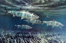Load image into Gallery viewer, Mike Stidham - Tarpon on The Flats - Framed Lithograph - Artist Proof - Print Size 23 x 31 - Frame Size 32 x 40 - Tarpon