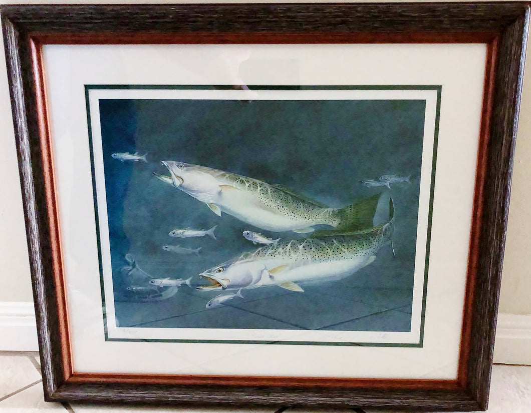 Ronnie Wells - Trout Run - Framed Lithograph - Print Size Size 18.5 x 22 - Frame Size 27 x 31 - Speckled Trout
