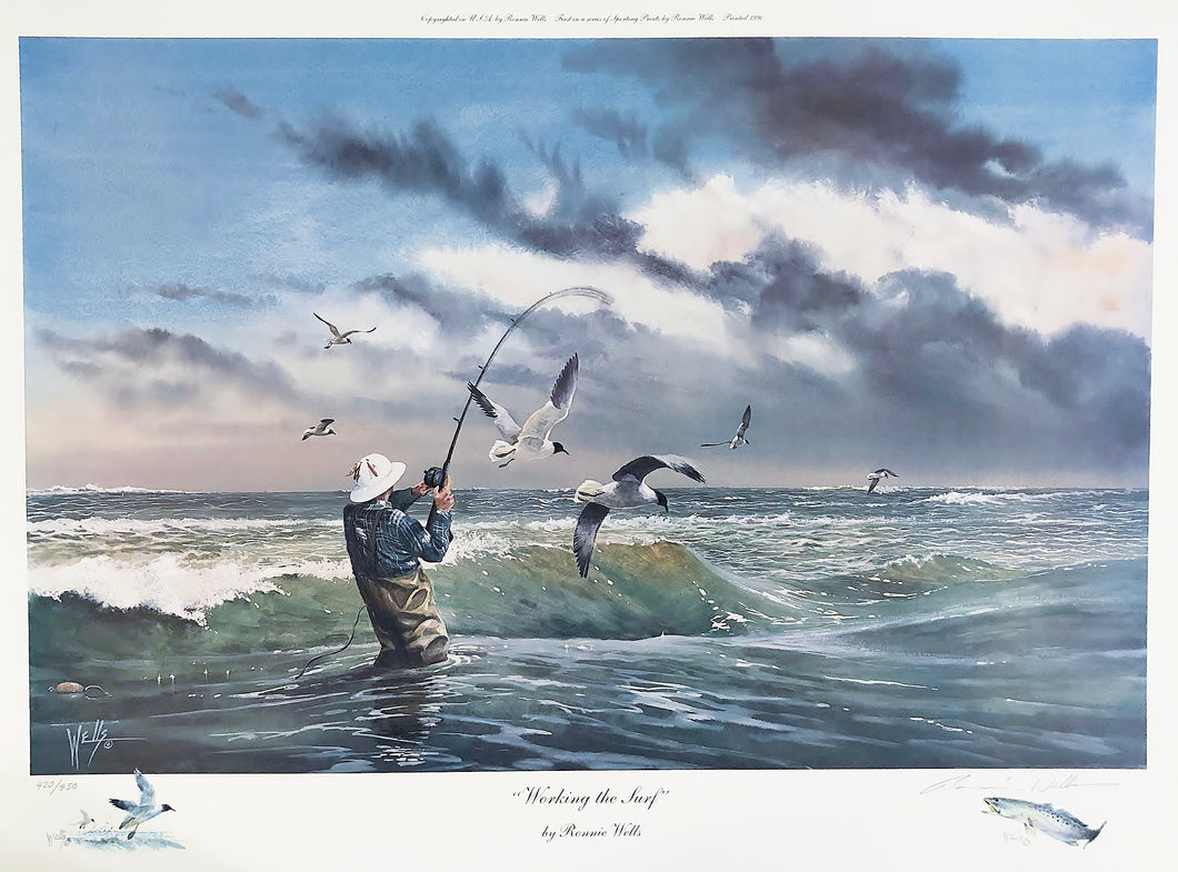 Ronnie Wells - Working The Surf with Speck & Gull Remarques 1990 - Framed Lithograph - Print Size Size 25 x 31 - Frame Size 34 x 40