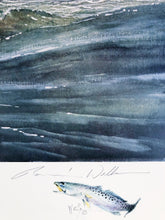 Load image into Gallery viewer, Ronnie Wells - Working The Surf with Speck & Gull Remarques 1990 - Framed Lithograph - Print Size Size 25 x 31 - Frame Size 34 x 40