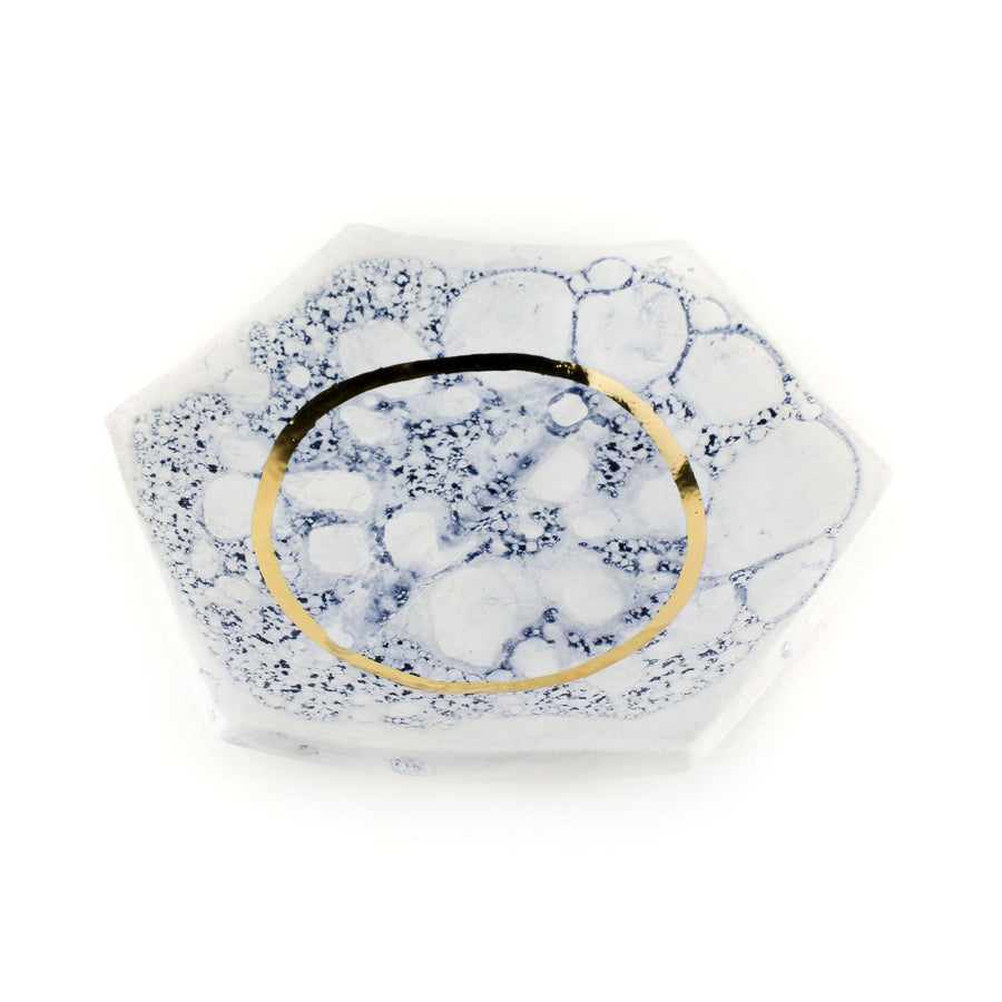 Wandering Bud Rolling Tray Navy Gold Porcelain | Hemlock Rose