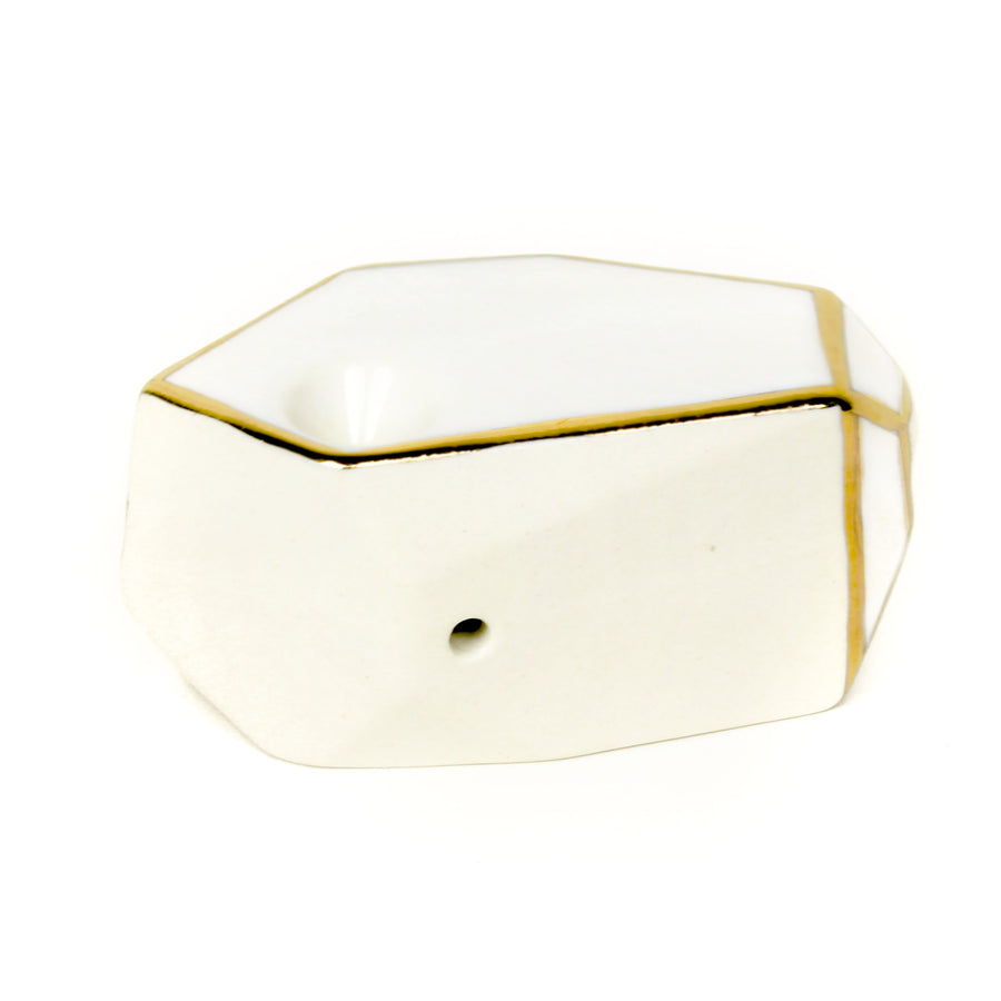 Stonedware Geo White 22k Gold Ceramic Pipe | Hemlock Rose