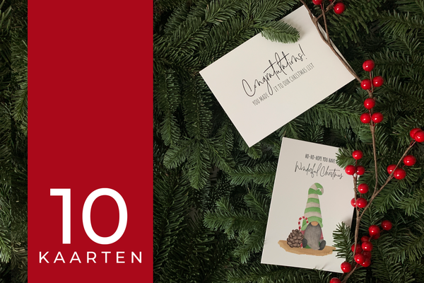 Kerstkaarten set 10 stuks – Mix 'Santa's little helpers' en 'Christmas Cheers'