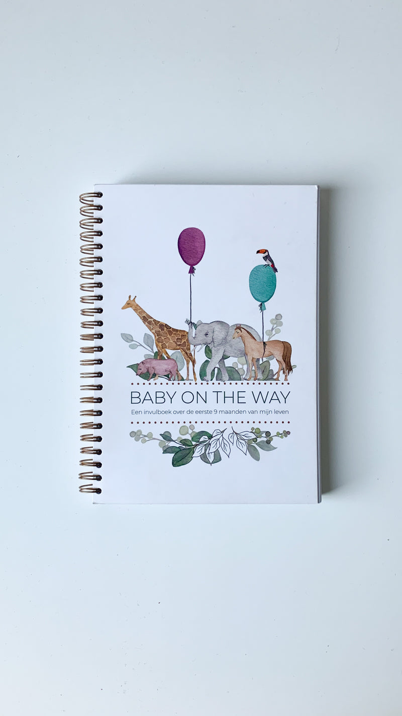 Invulboek 'Baby on the Way' spiraalbinding - Safari