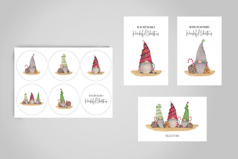 Gifttags en stickers set - Mix 'Santa's little helpers' en 'Chirstmas cheers'