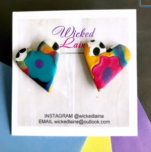 Graffiti Heart Studs