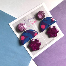 Load image into Gallery viewer, Blueberry Sorbet Triple Dangles