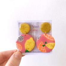 Load image into Gallery viewer, Citrus Glitter Dangles
