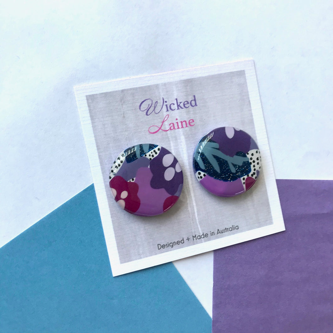 Midnight Mulberry Statement Studs